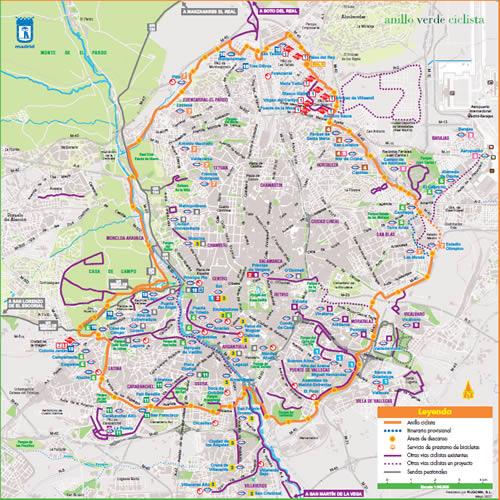 Plano del Anillo Ciclista de Madrid